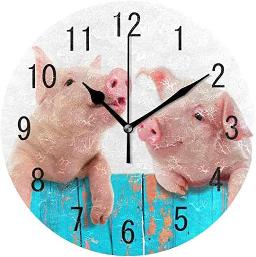 Amazon Com Home Decor Funny Pig Piggy Hanging On Fence Round 9 8 Inch Wall Clock Non Ticking Silent Clock Art For Living Room Kitchen Bedroom Home Kitchen