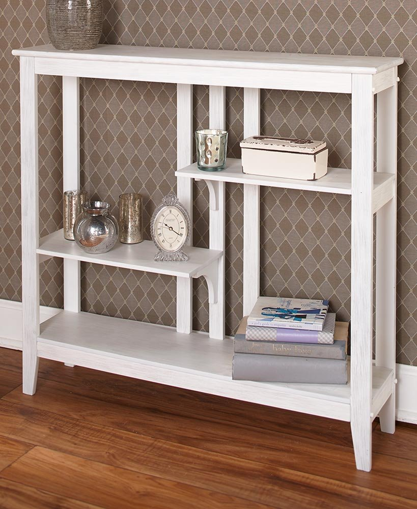 Brushed Metallic Console Table - Modern, Narrow Hallway Table - White/Silver by The Lakeside Collection