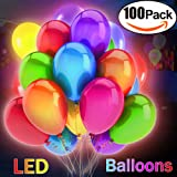 100 Pcs LED Light Up Balloons Set 12 Inch Mixed Color Party Balloon Pack Premium Quality Lights Ideal For Valentine Day,Parties,Birthday,Wedding Keep Lighting 8-24 Hours