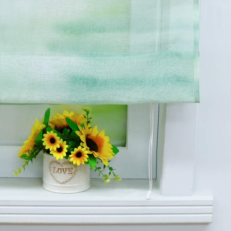 Yujiao Mao Voile Gradient Sheer Window Curtain Roman Shade V-Hook Adjustable Balloon Shades for Kitchen Bedroom Bathroom,1pc Green,W23 x L55 inch