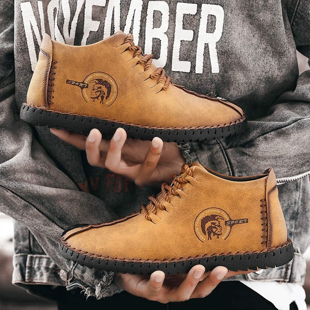 YONGJIA Mens Leather Warm Ankle Snow Plush Fur Chukka Boots Winter Casual Fashion Comfort Shoes