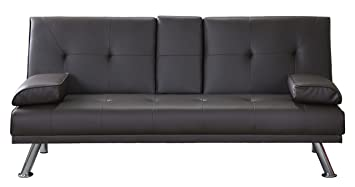 PUL Clic Clac Sofa Bed, 3-Seater Faux Leather Sofa, Drink Holder ...