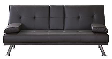 Clic Clac Sofa Bed, 3-Seater Faux Leather Sofa, Drink Holder | Black ...