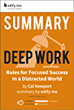 Summary of 'Deep Work' by Cal Newport. (2 Summaries in 1: In-Depth Summary and Bonus 2-Page PDF.)