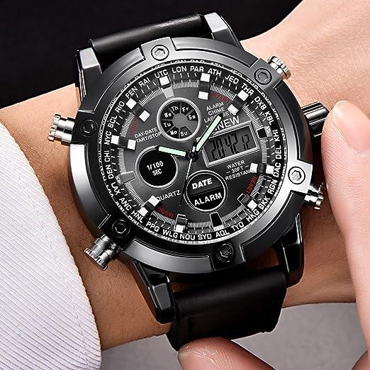 Longra☆ Reloj Analógico Digital Quarz para Hombre de Lujo Dual Movt LED Sport Sport: Amazon.es: Deportes y aire libre