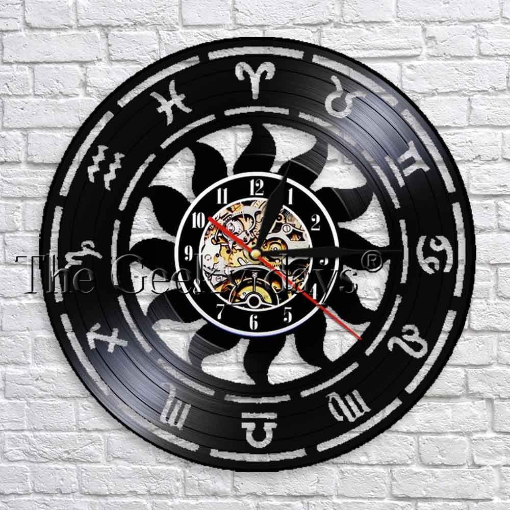 GVC Zodiac Signs Reloj de Pared de Vinilo Diseño Moderno Reloj de Pared 3D Cocina Relojes de Pared Astrología Decoraciones para Salas de Fiesta