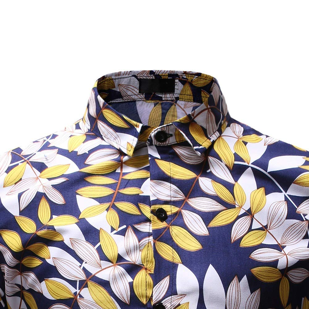 DUXIGJCD Men Shirt Fashion Flower Tops and Blouses New Pattern Casual Lapel Printing Long Sleeved Shirt Mens Clothing Spring