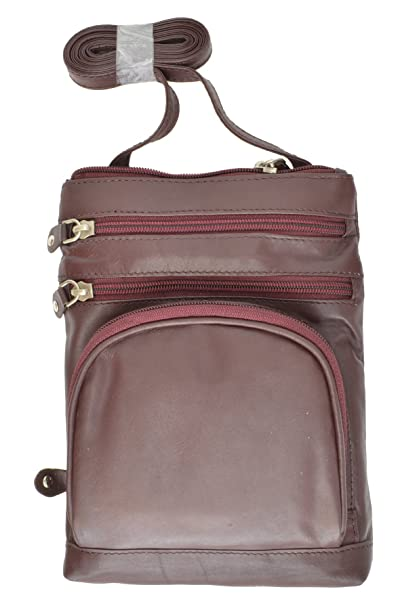 b83c1a57b7 Image Unavailable. Image not available for. Color  Genuine leather Multi-Pocket  Crossbody Purse Bag ...