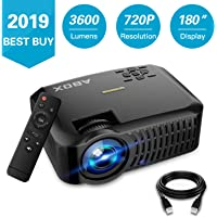 ABOX A2 Native 720P Portable Home Theater LCD HD Video Projector with 3600 Lumen,180 Inch Large Screen and Dual HiFi Speakers,Support 1080p HDMI/VGA/AV Multiple Ports