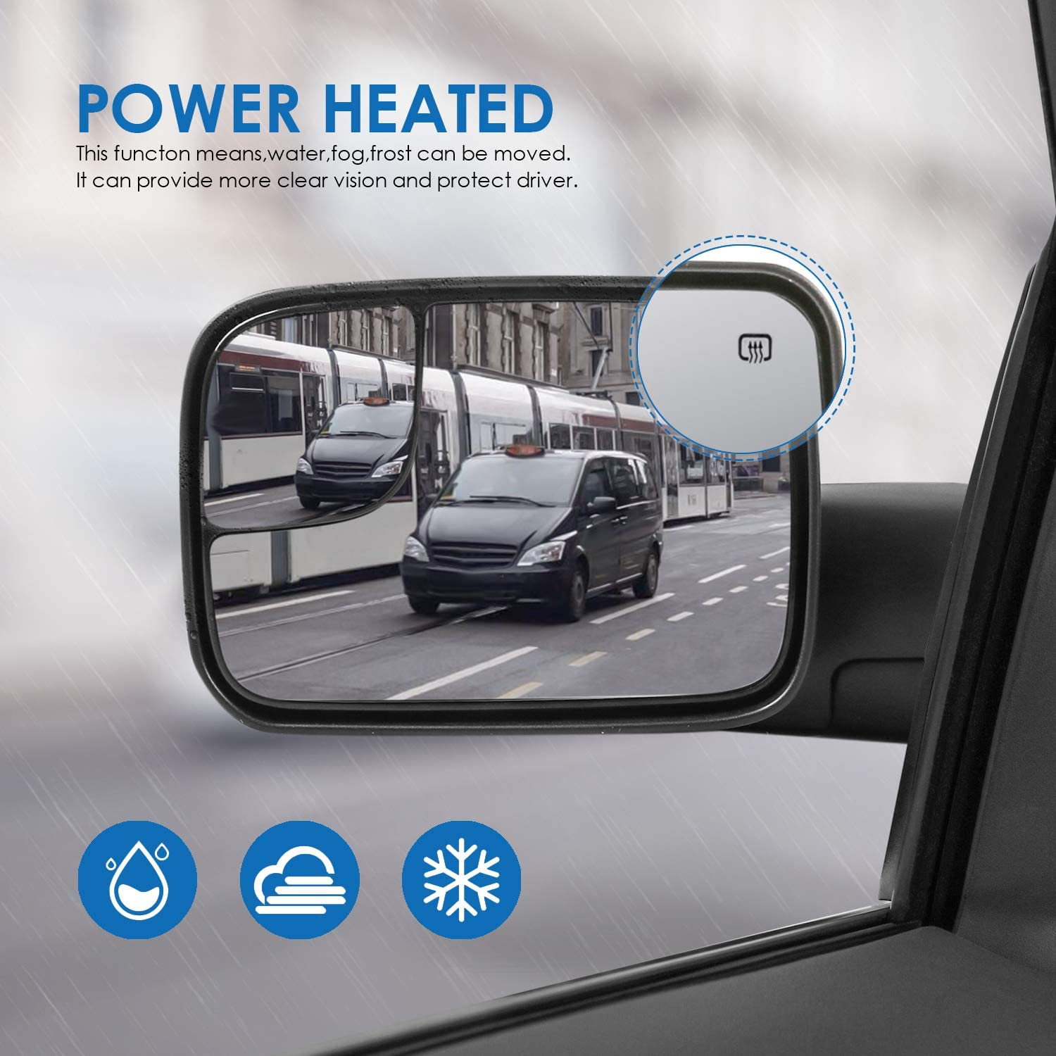 MOSTPLUS Power Heated Towing Mirror Compatible for 2002-2008 Dodge Ram 1500//2003-2009 Ram 2500 3500 with Manul Telescoping Set of 2