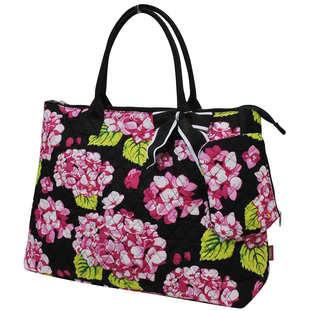 NGIL Quilted Cotton Extra Large Overnight Travel School Tote Bag 2018 Spring Collection (Hydrangea Black) by NGIL (Image #2)