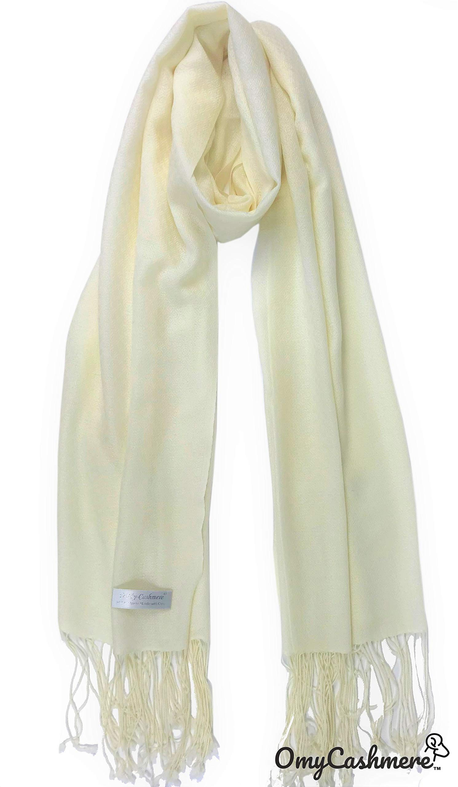 100% Cashmere Shawl Scarf Travel Wrap Stole Lightweight Tissue Weight Extra Large Solid Color with Gift Box (Ivory)
