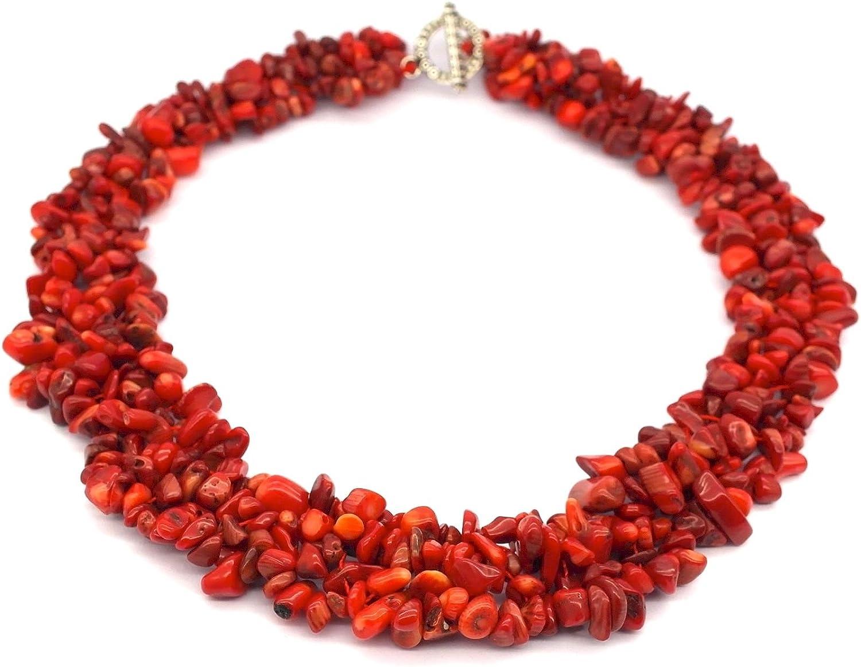 Collar de piedra natural de coral rojo /gargantilla