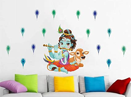 8de46925b0 Friends Office Automation 'Lord Krishna Flute Singing with Cow and Peacock  Petal Decorative' Wall