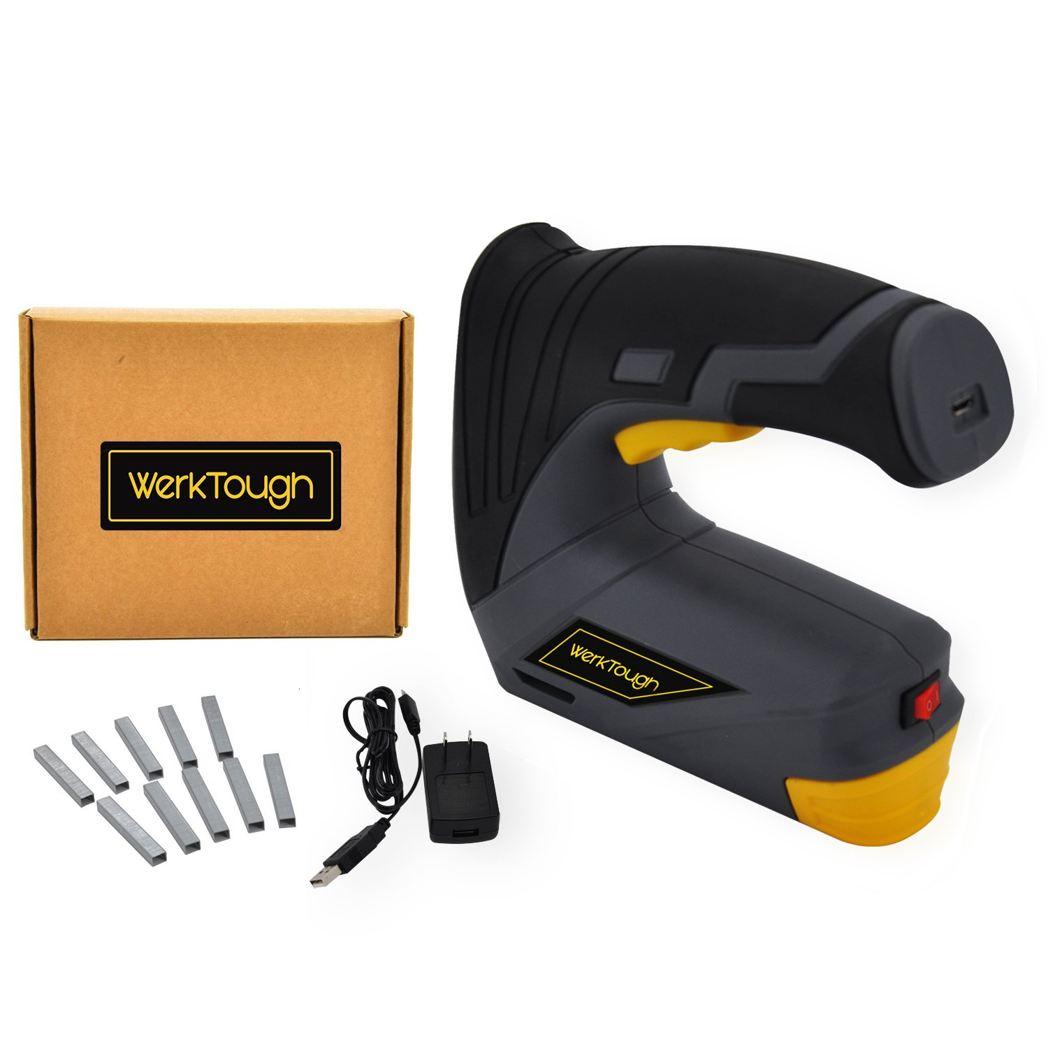 Werktough CSG01 Cordless Staple Gun DIY Electric Stapler with Carrying Box Rechargeable USB Charger by Werktough