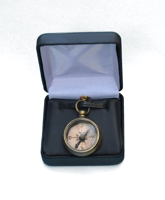 Stanley Kompass Messing Halskette mit Gravur Antik