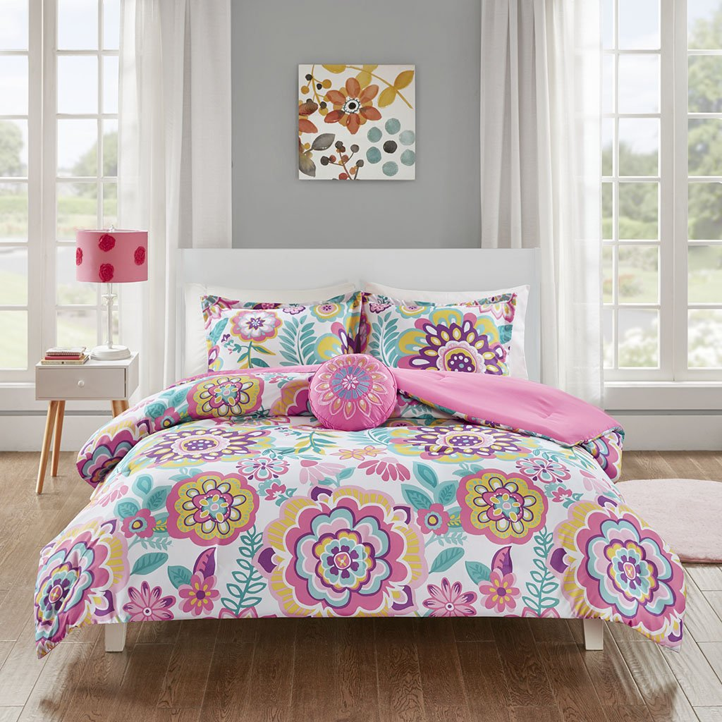 MI ZONE Camille Comforter Reversible Solid Medallion Flower Floral Printed Ultra Soft Down Alternative Hypoallergenic Microfiber Bedding-Set, Twin/Twin XL, Pink