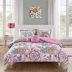 MI ZONE Camille Comforter Reversible Solid Medallion Flower Floral Printed Ultra Soft Down Alternative Hypoallergenic Microfiber Bedding-Set, Full/Queen, Pink