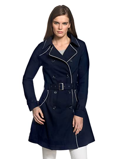 Trench-Coat Femme, Manteau Passepoil Contrastant 100% coton pas cher