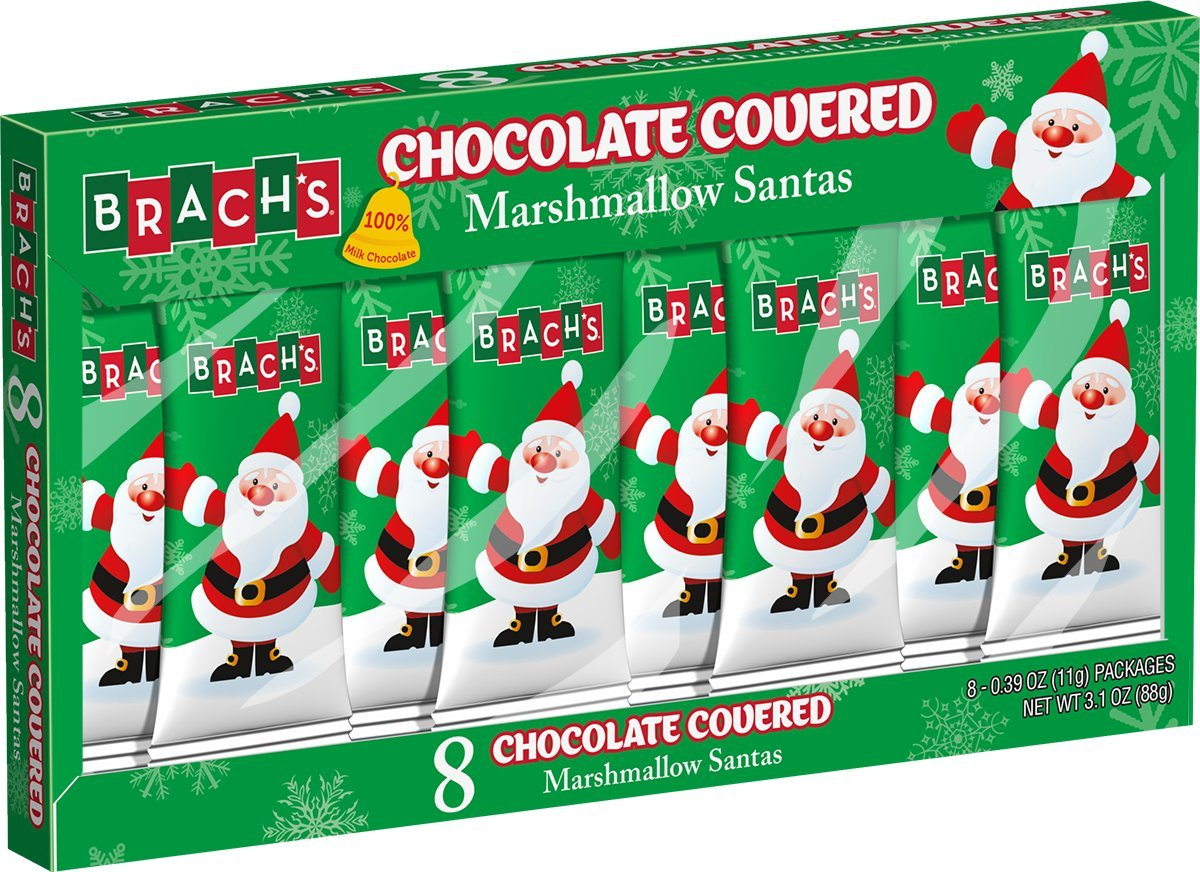 Brach's Chocolate Marshmallow Santas, 8 Count, Pack of 12 by Brach's