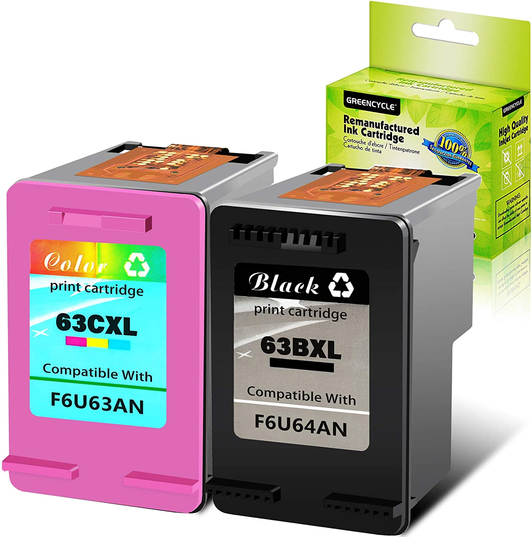 GREENCYCLE Remanufactured Ink Cartridge for HP 63 63XL Ink Cartridges Combo Pack 1 Black+1 Tri-Color Compatible for HP Envy 4520 4516 Officejet 4650 3830 3831 4655 Deskjet 2130 2132 1112 3630 3633 36