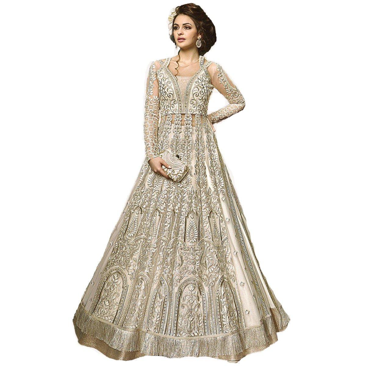 ziya Ready Made Designer Indian Wear Anarkali Suit Party Wear Zoya 2 (Off White, XS-36)