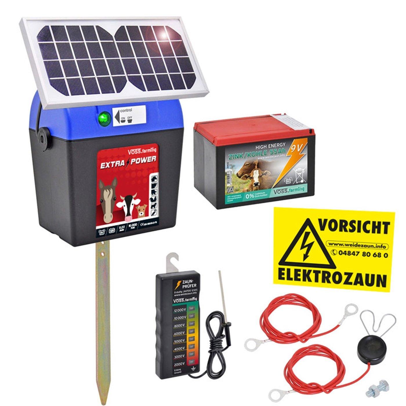 VOSS.farming Weidezaungerät 9V inkl. Batterie, Solar, Zubehör ...