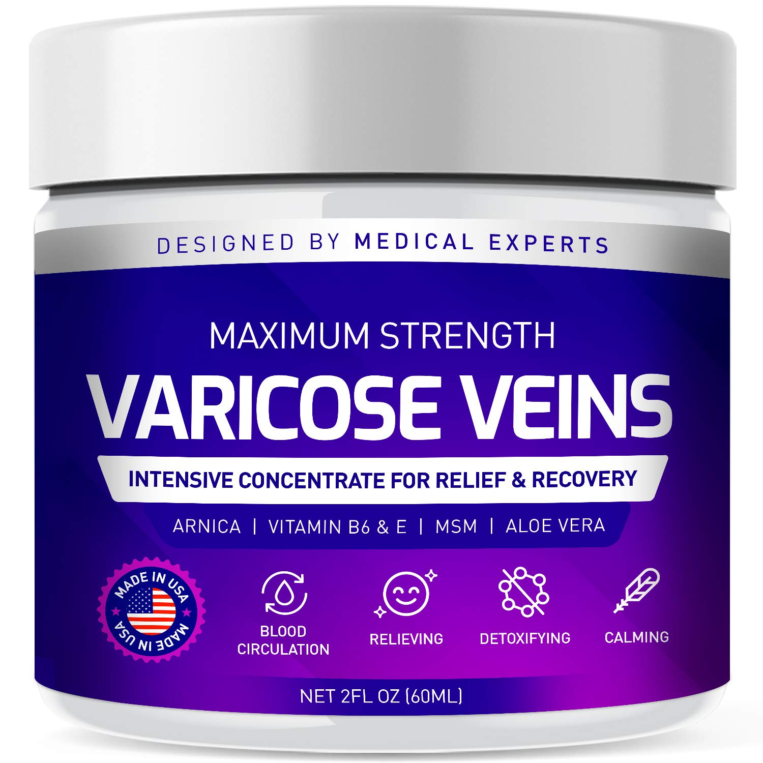 Varicose Veins Cream, Varicose Vein & Soothing Leg Cream, Natural Varicose & Spider Veins Treatment, Strengthen Capillary Health, Improve Blood Circulation, Tired and Heavy Legs Fast Relief 2oz