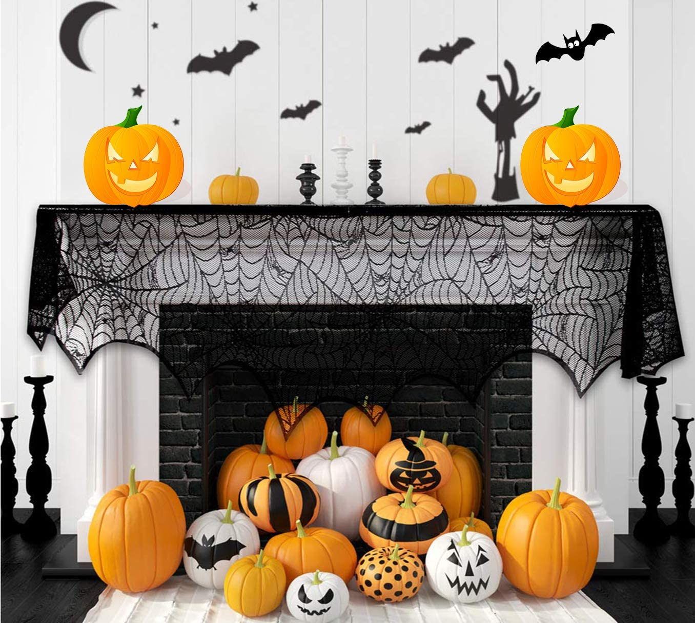 Halloween Fireplace Decorations, 18x96 Inch Black Lace Spiderweb Fireplace Mantle Scarf Cover, Cobweb Fireplace Scarf Decor Indoor Halloween Party Supplies