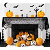 Halloween Garland Black 18 x 96 Inch Fireplace Mantle Decorations Indoor Lace Spiderweb Scarf Cover Halloween…