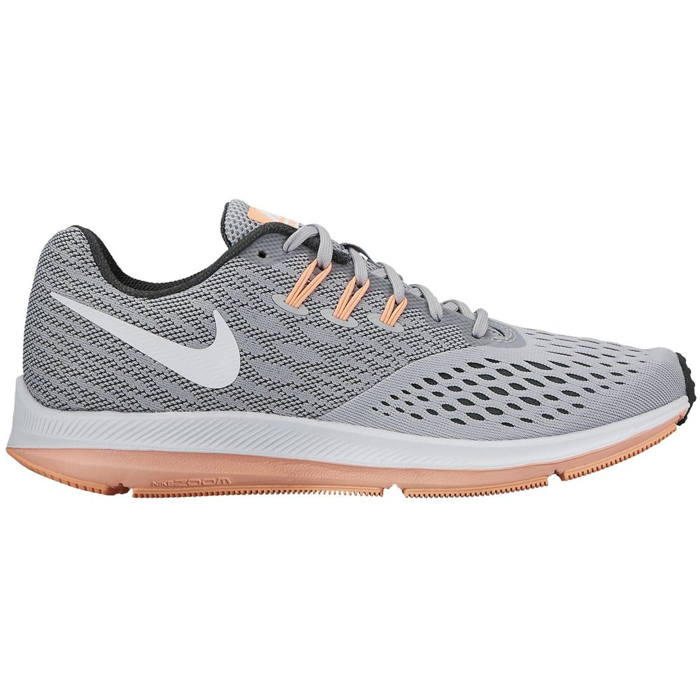 NIKE Womens Zoom FLO 4 Fabric Low Top Lace up Running Sneaker B01K2I5S2Y 7 B(M) US|Wolf Grey/White/Anthracite/Sunset Glow