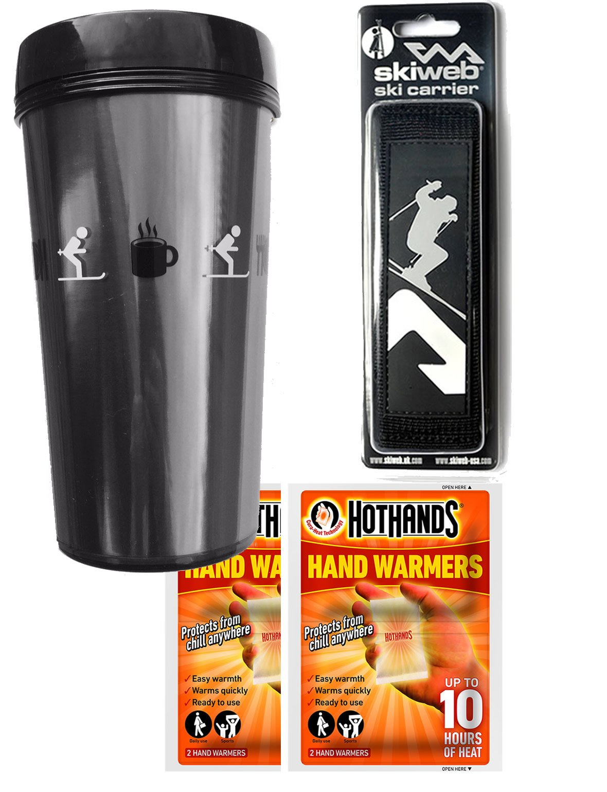 Ski Gift Pack - Travel Mug With Ski Carrier & Hothands Warmers by Skiweb