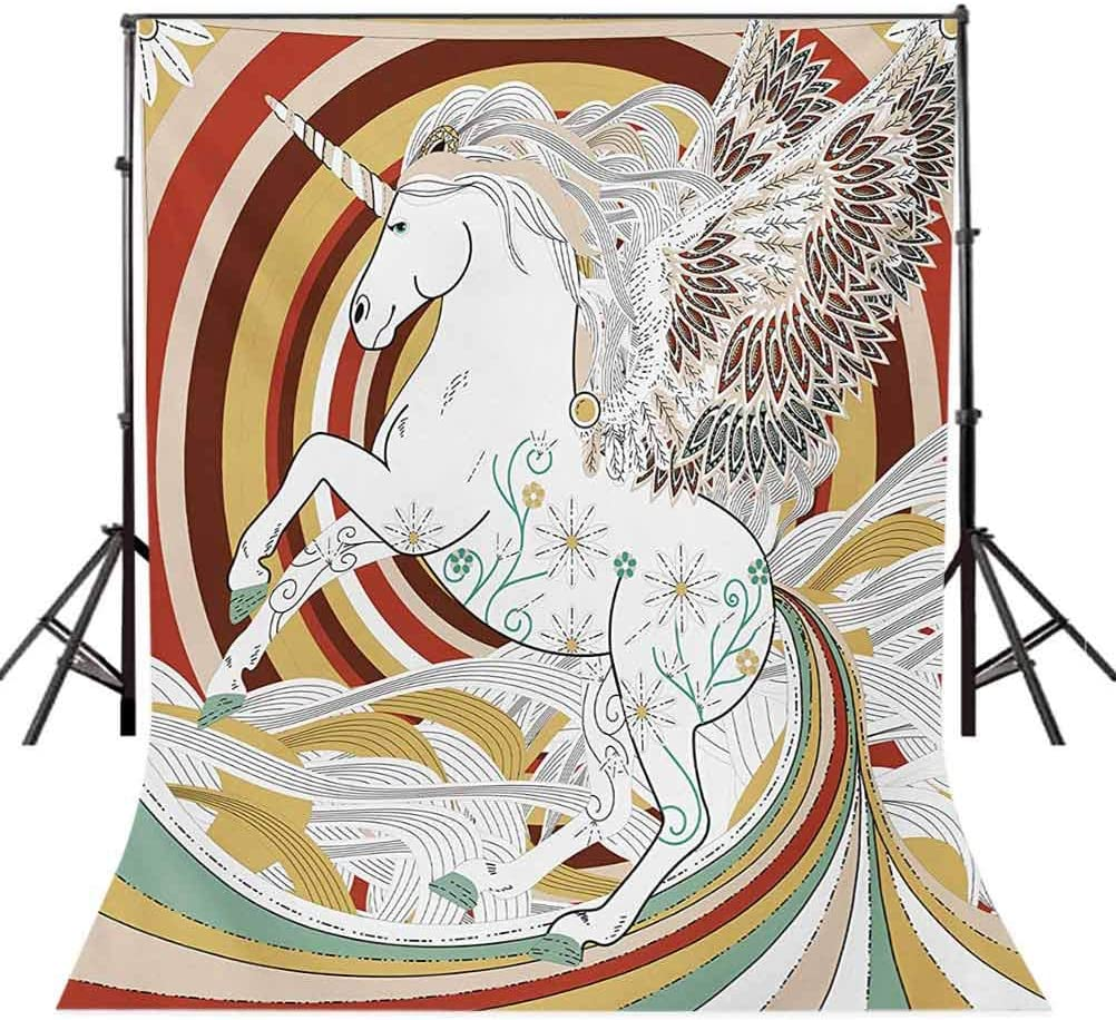 6.5x10 FT Backdrop Photographers,Pop Art Culture Graphic of Ancient Unicorn with Angel Wings on Spiral Backdrop Artwork Background for Baby Birthday Party Wedding Vinyl Studio Props Photography
