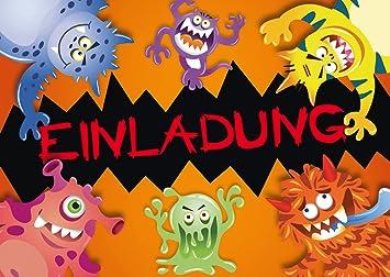 Halloween Kindergeburtstag.12 Halloween Einladungskarten Monster 12 Er Set
