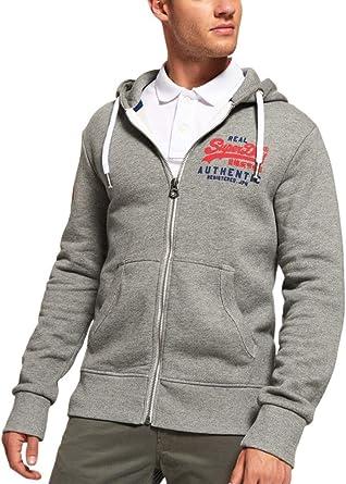 modische Muster Neues Produkt großartige Qualität Superdry Herren Vintage Authentic Duo Zip Hoodie, Grau ...