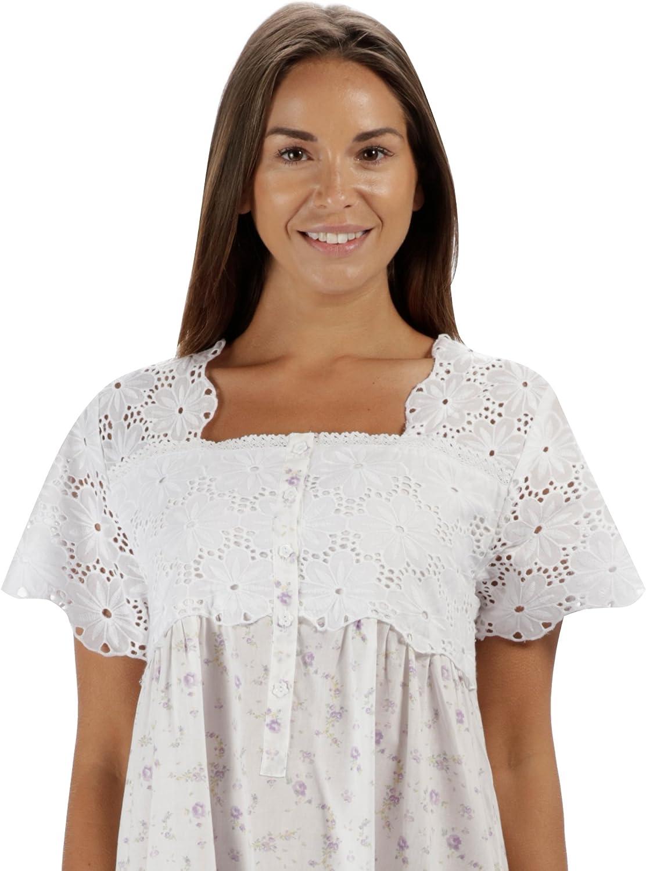 Elizabeth The 1 for U 100/% Coton Manches Courtes Femmes Chemise de Nuit 6 Tailles Lilas Rose 3XL