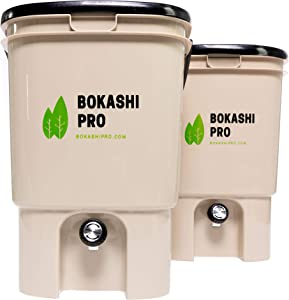 BokashiPro Kitchen Composter - Set of Two, Includes Masher, Strainer, Cup for Compost Tea, and Detailed Instructions