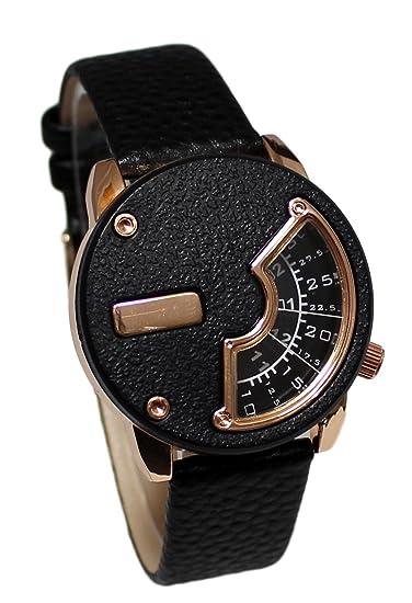 Reloj mujer Bijoux Ernest Gold rosa pulsera cuero negro