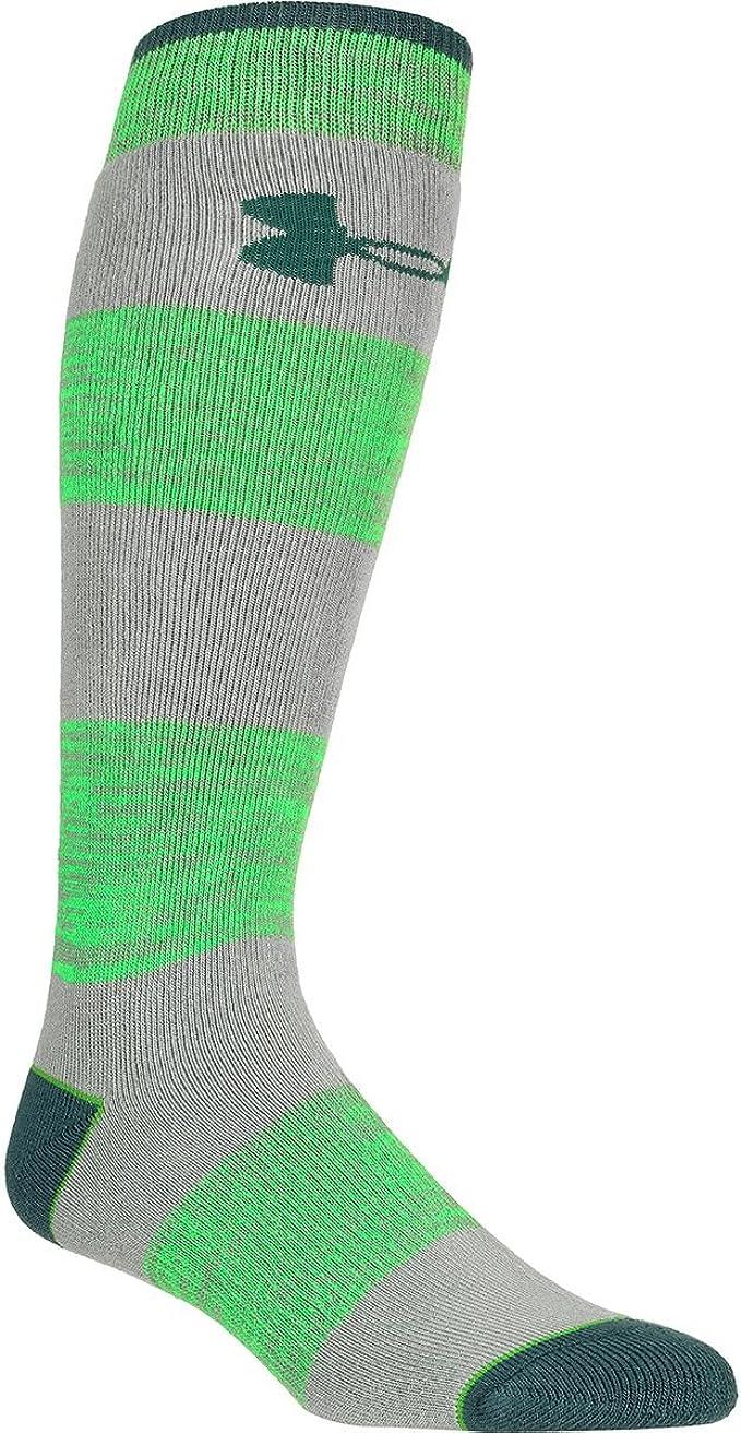 Mens Overcastgray//Green Under Armour Mountain Twist Over-The-Calf Sock L U652-OVRGRN-LG