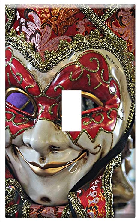 MARDI GRAS MASKS HOME WALL DECOR GFI OUTLET ROCKER LIGHT SWITCH PLATE