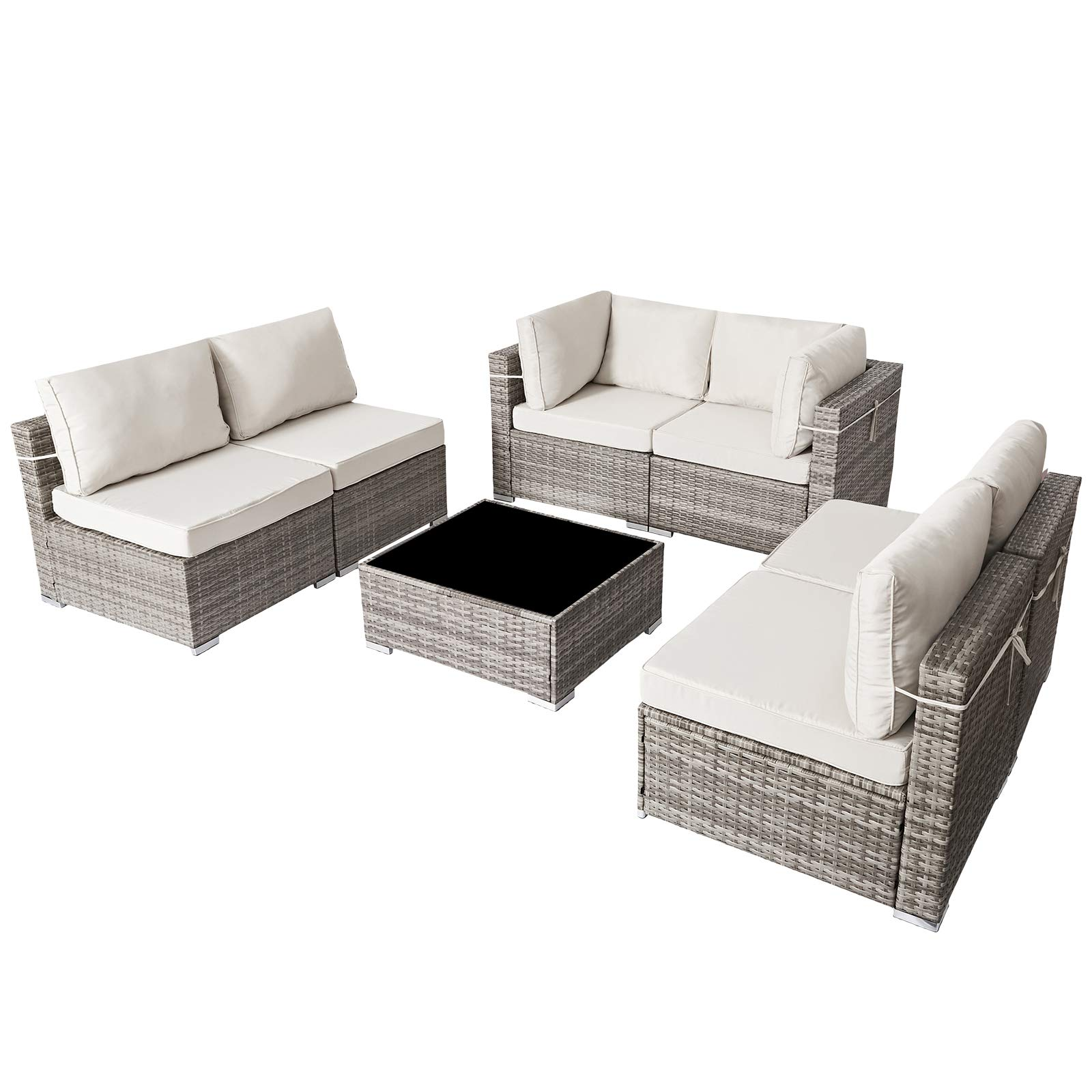 Patio Furniture Corner Sofa Outdoor Loveseat Brown 2 Piece Wicker Rattan Outdoor Sectional Sofa Set with Removable Beige Cushions,Extra Chair for SUNVIVI OUTDOOR Furniture