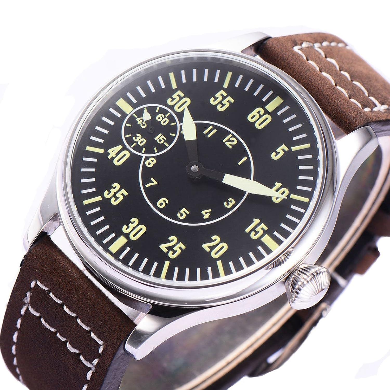 44 mm steril schwarz Zifferblatt-6497 Mechanische Herren-Armbanduhr