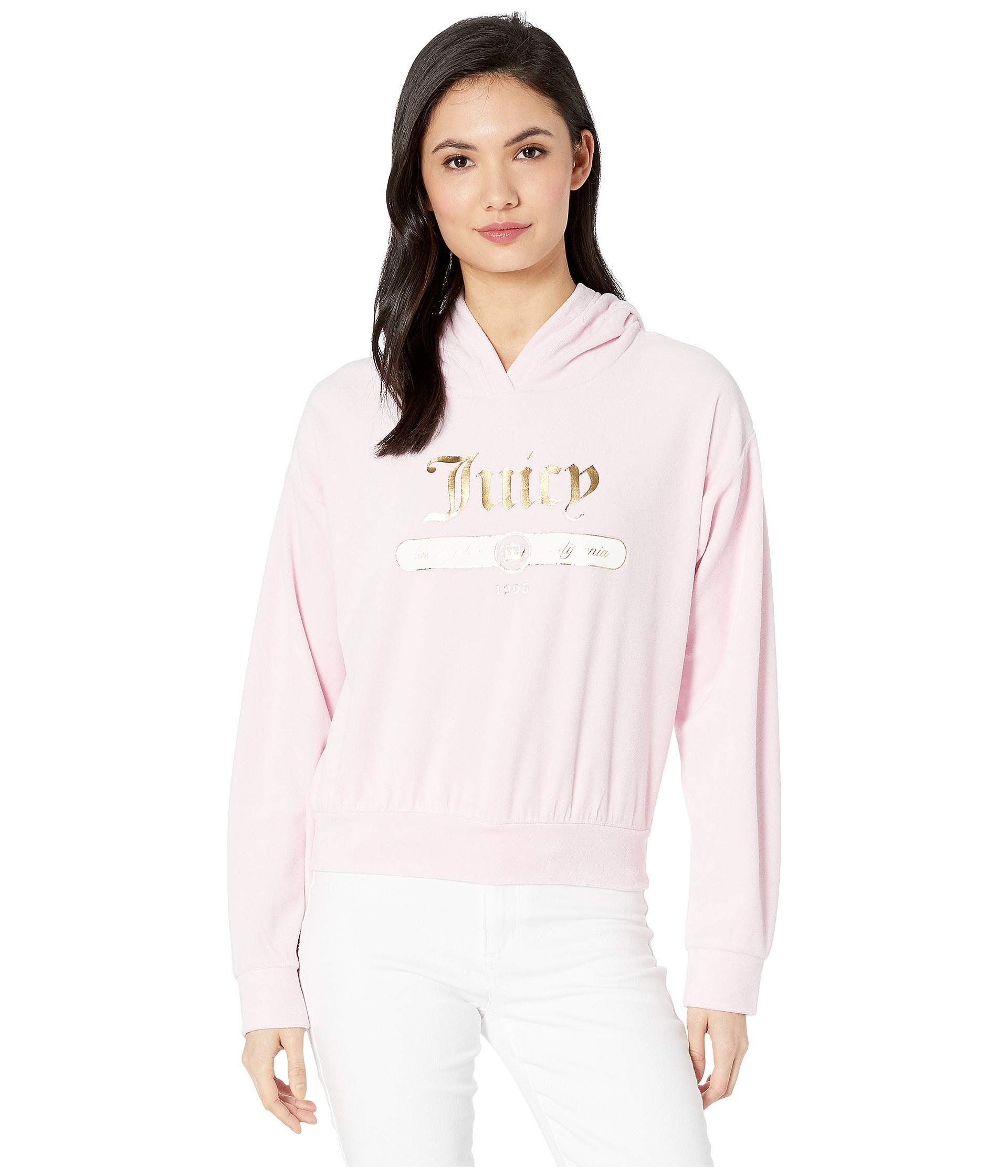 Juicy Couture Women's Juicy Emblem Velour Logo Hooded Pullover