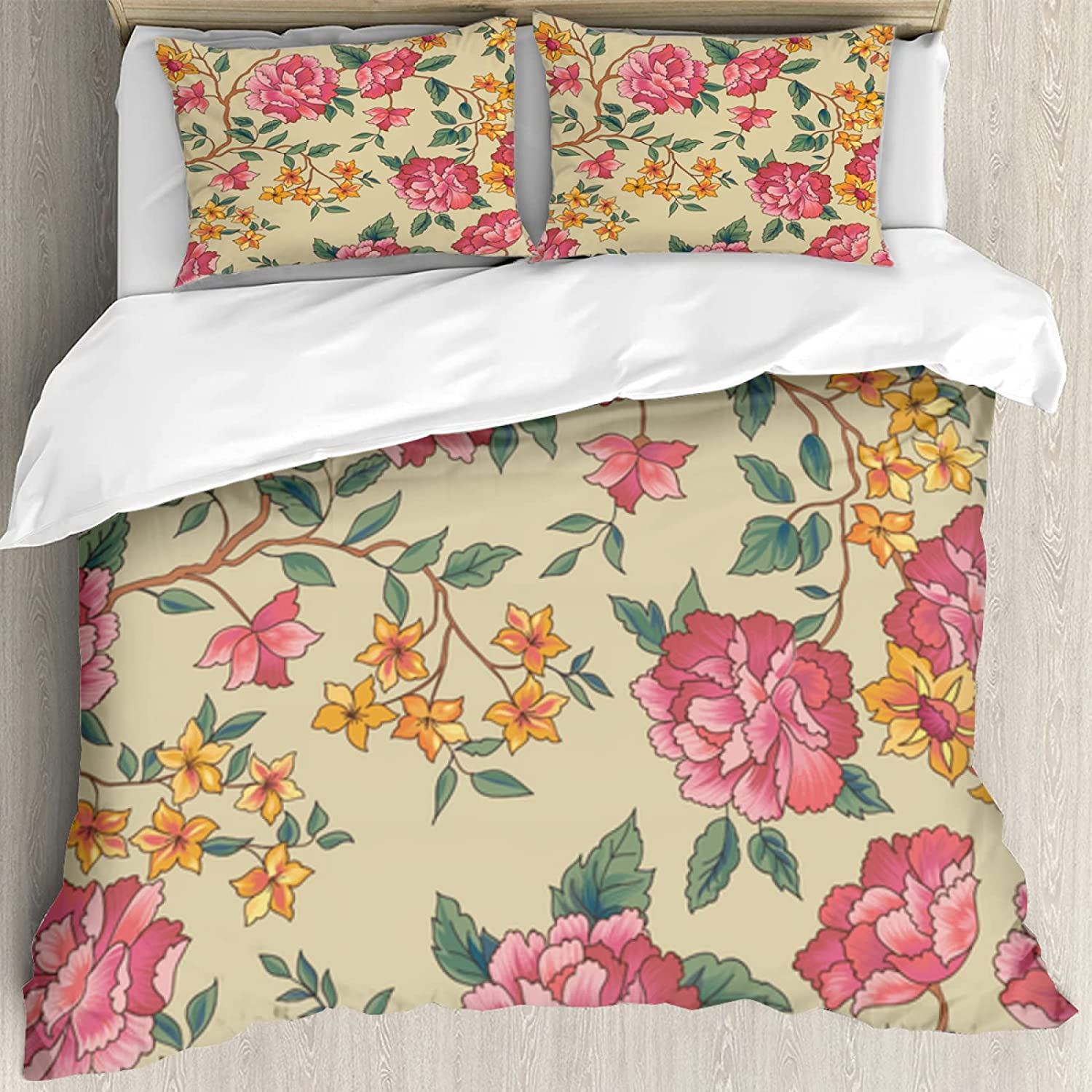Duvet Cover Set 60x80inch,Floral Seamless Pattern Flower Rose Background Flourish Ornamental Garden,Decorative 3 Piece Bedding Set with 2 Pillow Shams, Twin/Full/Queen/King Size LTH