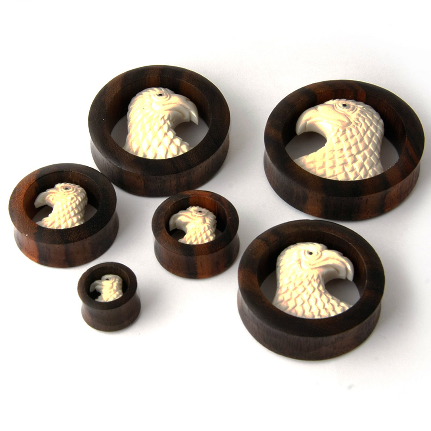Pair Sono Wood EAGLE Design Ear Plug Gauges (16 Millimeters)