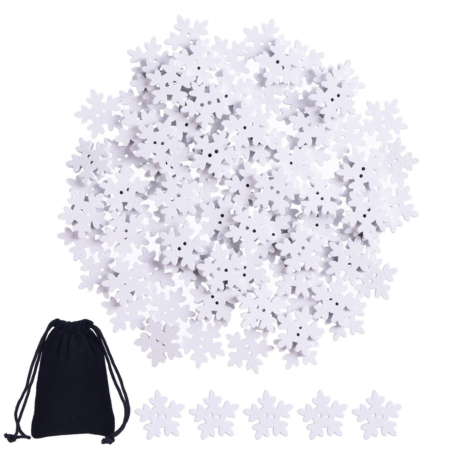 150 Pieces Snowflakes Buttons Christmas White Wooden Buttons with 2 Holes for Scrapbook Craft and Sewing Sumind