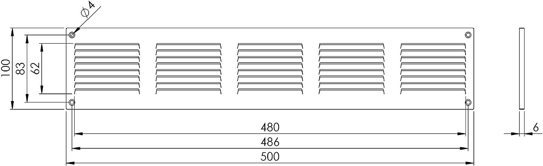 500 x 100 mm nero colore Griglia di ventilazione con protezione dagli insetti