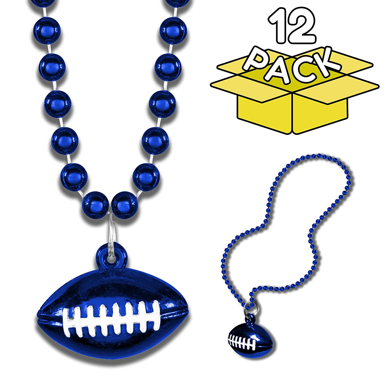Windy City Novelties 12 Pack Football Party Favors Bead Necklaces