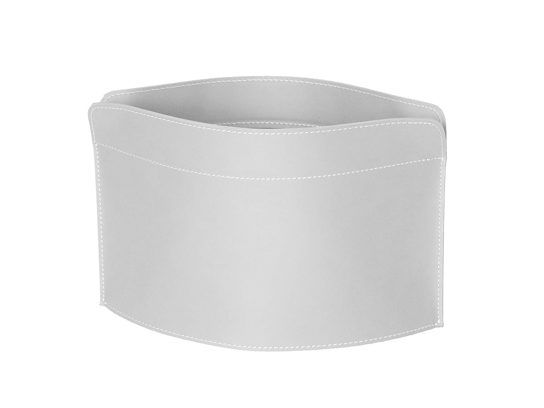 GIUSY: portariviste in cuoio colore Bianco, borsa in cuoio, cesto, cestino, contenitore, Made in Italy by Limac Design®. Gavemo
