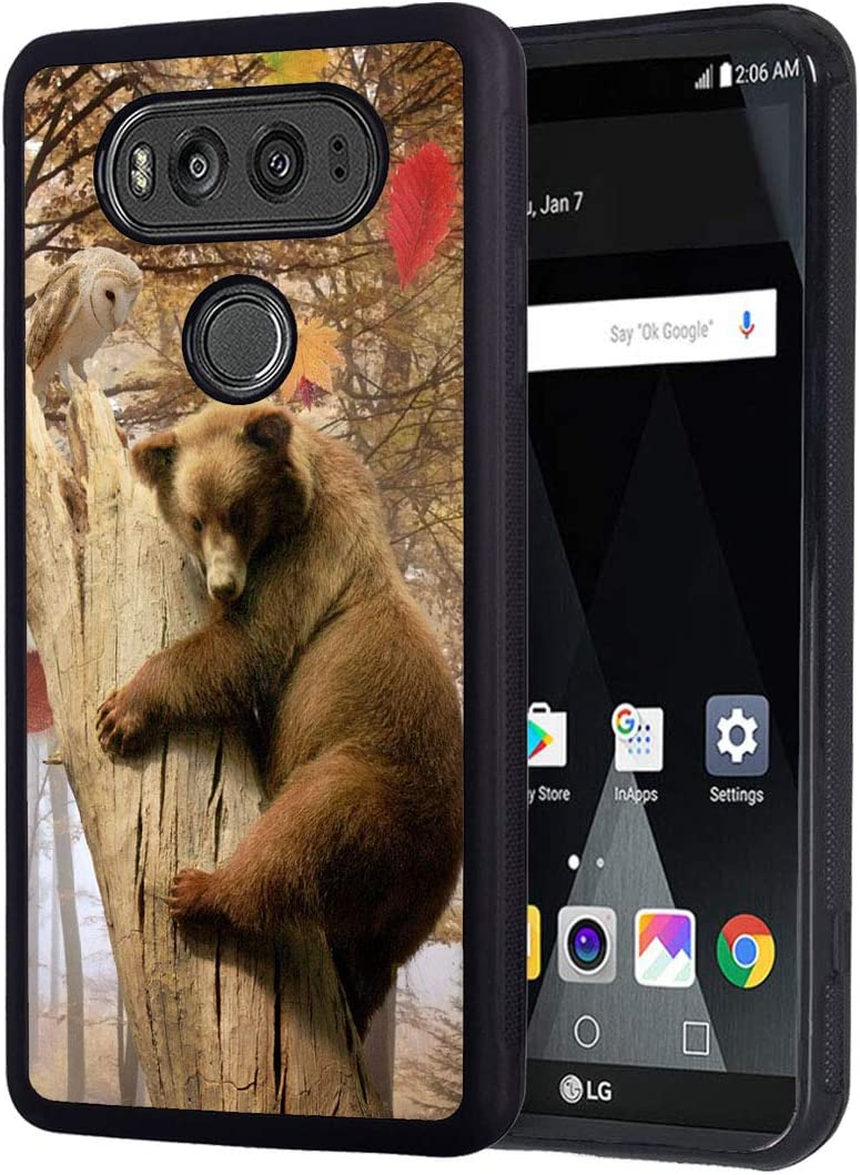 LG V20 Case, Slim Anti-Scratch Shockproof Rubber Protective Cover for LG V20,Bear Holding Dead Tree in Autumn Leaves